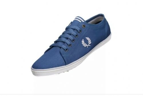 Men's Fred Perry Blue Kingston Twill Canvas Trainers Brand New Boxed B6259U-F57